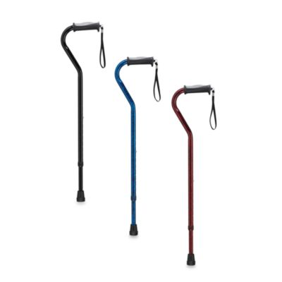 Drive Medical Adjustable-Height Offset Handle Cane with Gel Hand Grip - Black