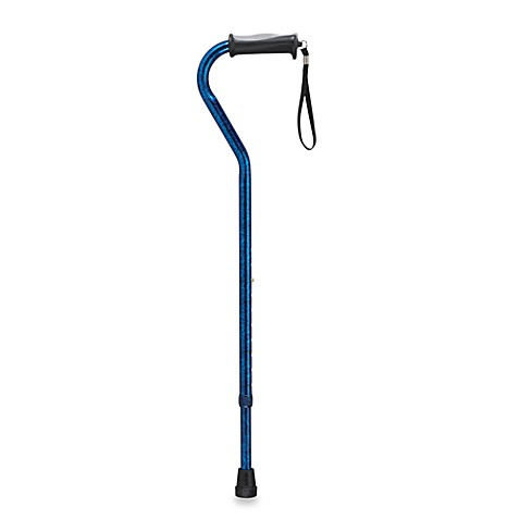 Drive Medical Adjustable-Height Offset Handle Cane with Gel Hand Grip - Blue