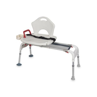 Drive Medical Folding Universal Sliding Tub Transfer Bench in White