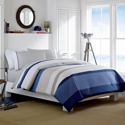 Nautica® Grand Bank Reversible Twin Duvet Cover Set in Khaki