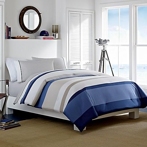 Nautica 174 Grand Bank Reversible Comforter Set In Taupe