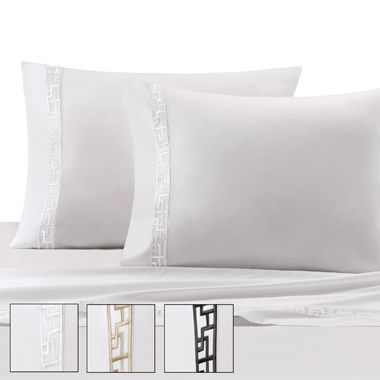 Natori Ming Fretwork Set of 2 King Pillowcase in White/Chamgpagne