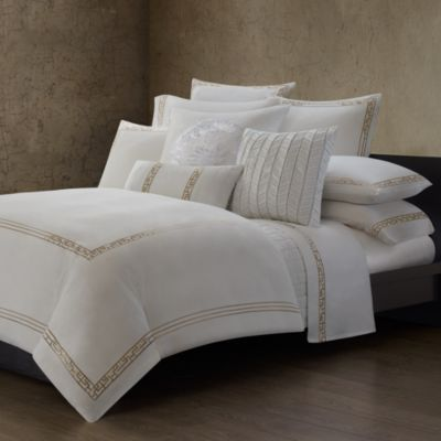 Natori Ming Fretwork King Duvet Cover in White/Champagne