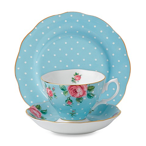 Royal Albert 3-Piece Set in Polka Dot Blue