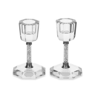 Oleg Cassini Crystal Diamond 4-Inch Candle Holders (Set of 2)