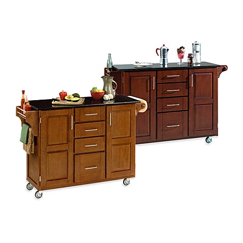 Home Styles Create-a-Cart Wood Kitchen Cart with Black Granite Top
