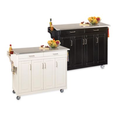 Home Styles Create-a-Cart Wood Kitchen Cart with Stainless Steel Top