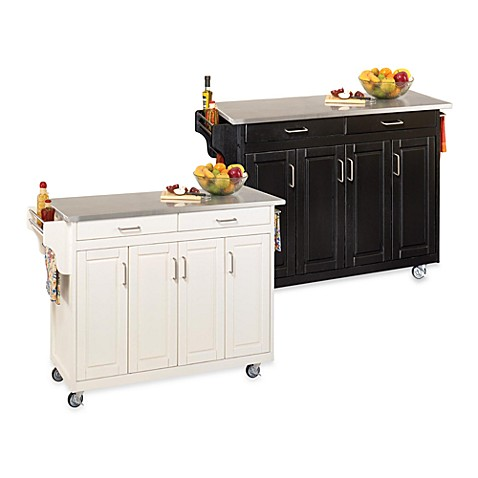 Home Styles Create A Cart Wood Kitchen Cart With Stainless