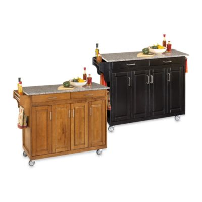 Home Styles Create-a-Cart Wood Kitchen Cart w/ Speckled Granite Top