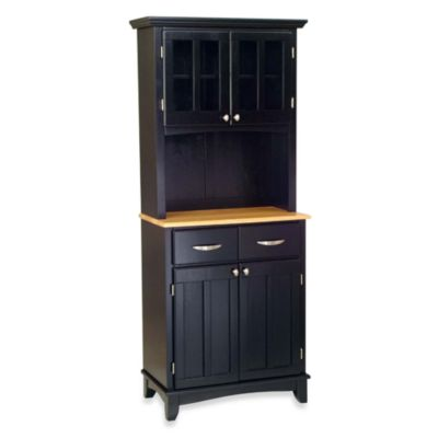 Home Styles Natural Wood Top Small Buffet/Server with Hutch in Black
