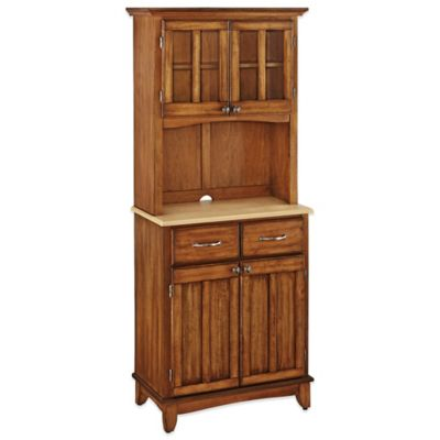 Home Styles Natural Wood Top Small Buffet/Server with Hutch in Oak