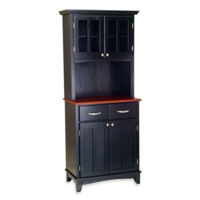 Home Styles Cherry Wood Top Small Buffet/Server with Hutch in Black