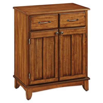 Home Styles Small Buffet/Server with Cottage Oak Wood Top in Oak