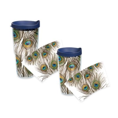 Tervis Peacock Feathers Wrap 24-Ounce Tumbler in Green/Purple