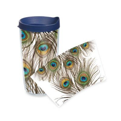 Tervis Peacock Feathers Wrap 16-Ounce Tumbler with Blue Lid in Green/Purple