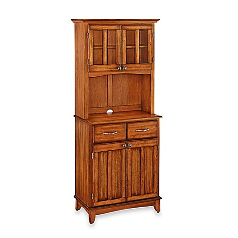 Home Styles Cottage Oak Wood Top Small Buffet Server With