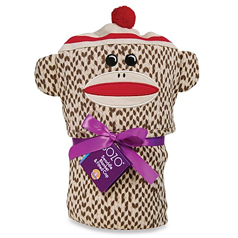 Sozo® Sock Monkey Swaddle Blanket and Cap Set