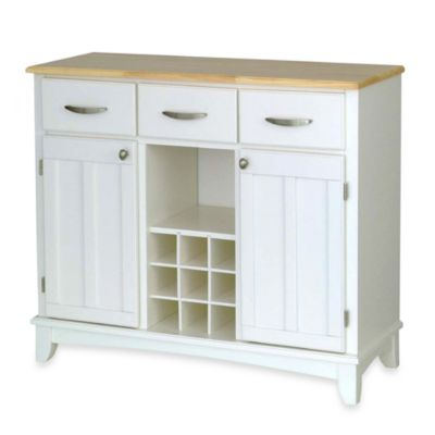 Home Styles Large Buffet/Server with Natural Wood Top in White