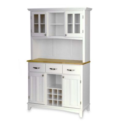 Home Styles Natural Wood Top Large Buffet/Server with Hutch in White