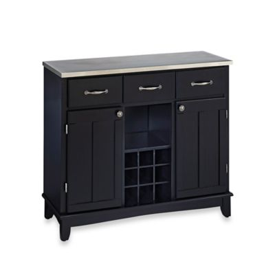 Home Styles Large Buffet/Server with Stainless Steel Top in Black