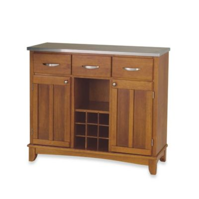 Home Styles Large Buffet/Server with Stainless Steel Top in Oak