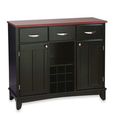 Home Styles Large Server With Wood Top in Black/Cherry