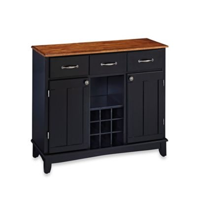 Home Styles Large Buffet/Server with Cottage Oak Wood Top in Black