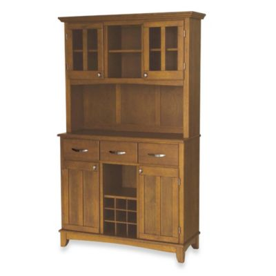 Home Styles Cottage Oak Wood Top Large Buffet/Server with Hutch in Black