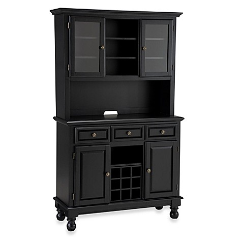 Home Styles Premium Wood Top Buffet/Server with Hutch in Black