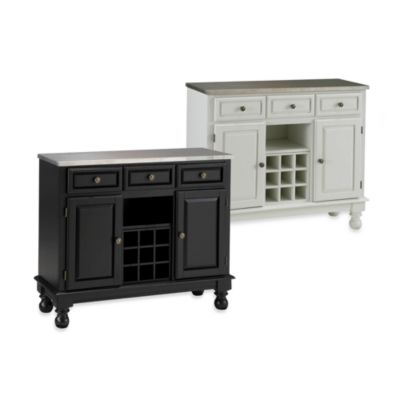 Home Styles Premium Wood Buffet/Server with Stainless Steel Top