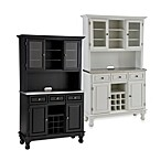 Home Styles Premium Stainless Steel Top Wood Buffet with Hutch