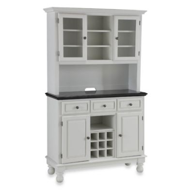 Home Styles Premium Black Granite Top Buffet with Hutch