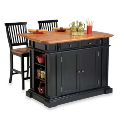 Home Styles Distressed Oak Top Kitchen Island and Two Barstools in Black
