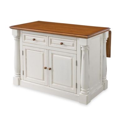 Home Styles Monarch Kitchen Island with Oak Top in Antiqued Black