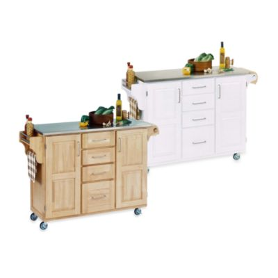 Home Styles Create-a-Cart Wood Kitchen Cart with Stainless Top