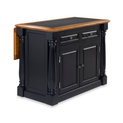 Home Styles Monarch Kitchen Island with Distressed Oak Top in Antiqued White