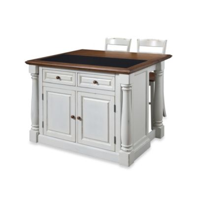 Home Styles Monarch 3-Piece Kitchen Island with Granite Top and Two Stools