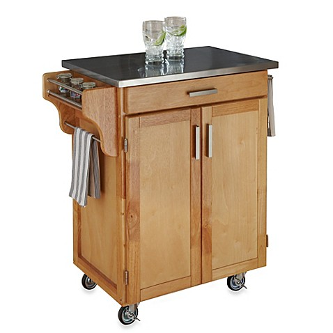 Home Styles Cuisine Stainless Top Kitchen Cart in Natural