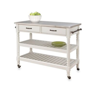 Home Styles Savannah Kitchen Cart in White