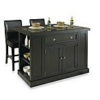 Home Styles Nantucket Hardwood Kitchen Islands with Two Barstools