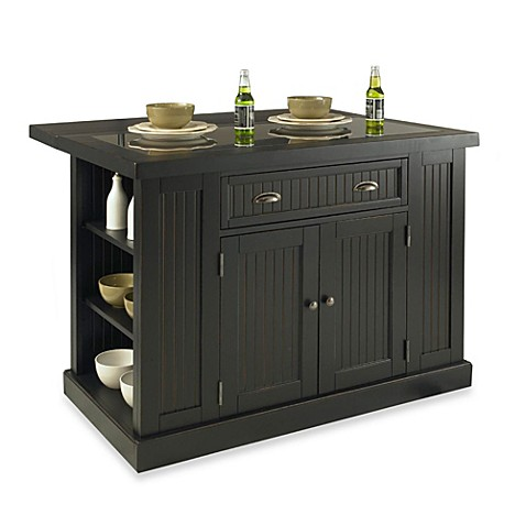 Buy home styles nantucket hardwood kitchen island black from bed bath beyond - Bed bath beyond kitchen ...