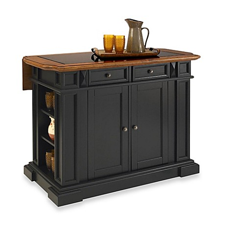 Home Styles Deluxe Traditions Distressed Oak and Black Granite Top Kitchen Island