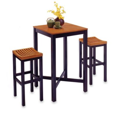 Home Styles Hardwood 3-Piece Pub Table Set in Black