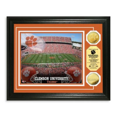 Clemson University 13-Inch x 16-Inch Collegiate Stadium Gold Coin Photo Mint Frame