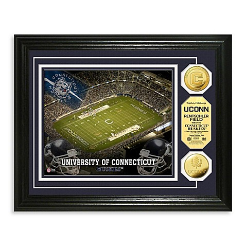 University of Connecticut 13-Inch x 16-Inch Stadium Gold Coin Photo Mint Frame