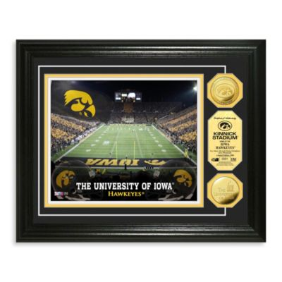 University of Iowa 13-Inch x 16-Inch Collegiate Stadium Gold Coin Photo Mint Frame