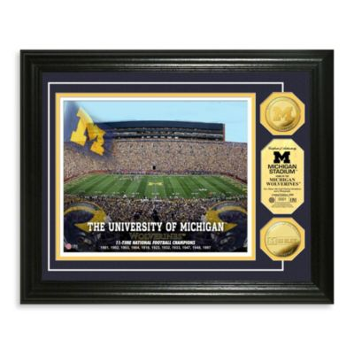 University of Michigan 13-Inch x 16-Inch Stadium Gold Coin Photo Mint Frame