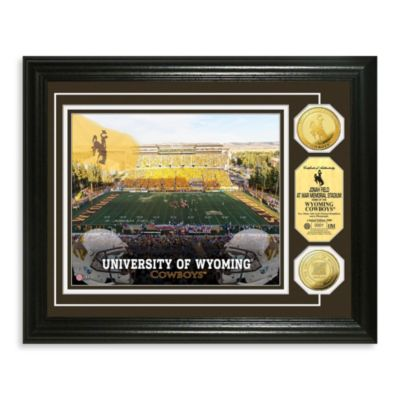 University of Wyoming 13-Inch x 16-Inch Stadium Gold Coin Photo Mint Frame