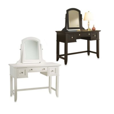Home Styles Bedford Collection Vanity Table with Removable Mirror in Black