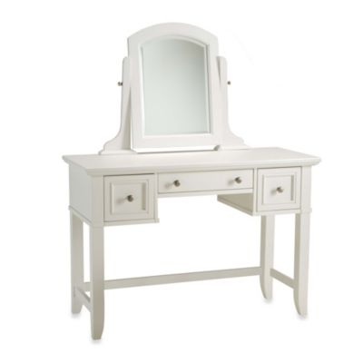 Home Styles Naples Collection Vanity Table with Removable Mirror in White